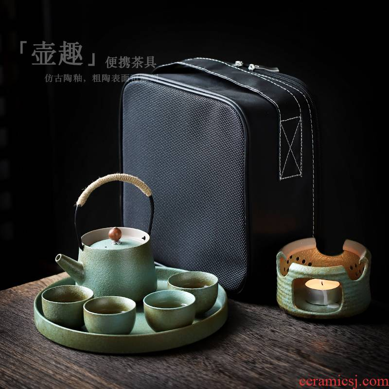 ShangYan portable travel kung fu tea set is suing candles heated tea stove teapot tea tray of a complete set of contracted