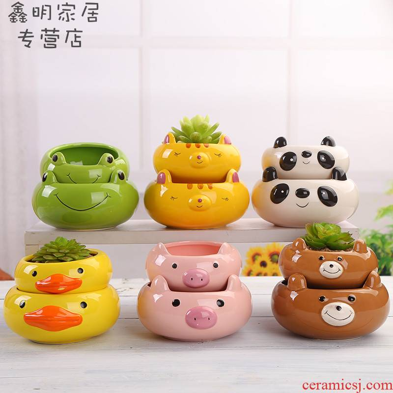 Fleshy flowerpot ceramic creative pure and fresh and beautiful flower POTS and lovely cartoon character Chesapeake European flower POTS filled with 20 package mail