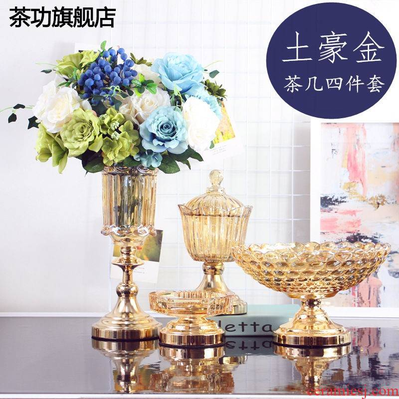 The Local tyrants golden light European - style key-2 luxury 】 lead - free glass tea table table flower fruit bowl furnishing articles 4 soft outfit sugar pot