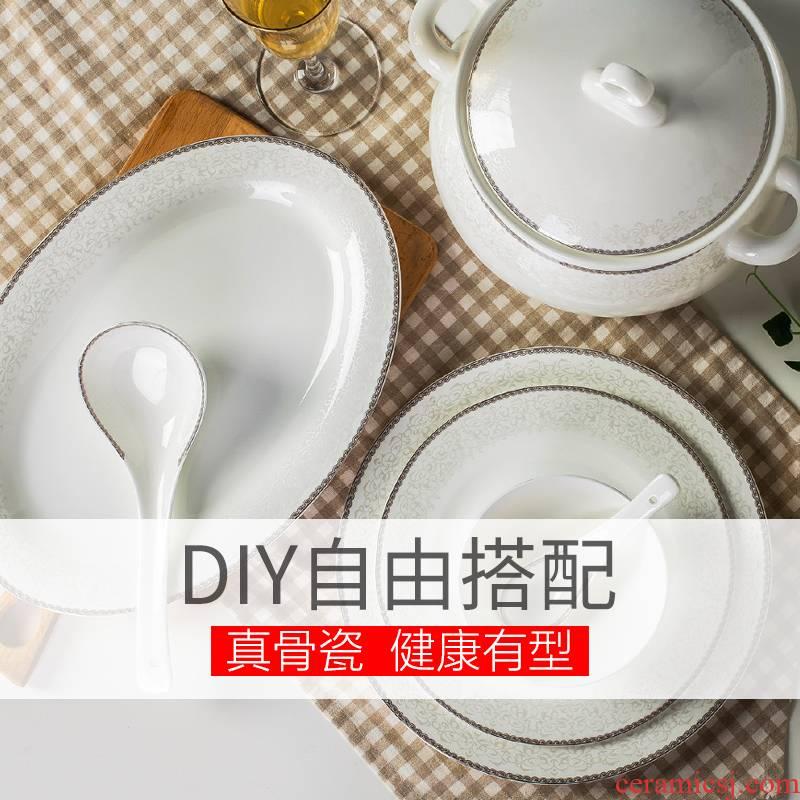 Dishes suit DIY bowl dish soup bowl European high - grade ipads China jingdezhen domestic ceramic tableware for single