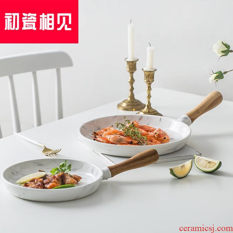 At the beginning of porcelain meet each other? Nordic is contracted marble ceramic bread plate western - style food plate tray was sushi plate SaPan