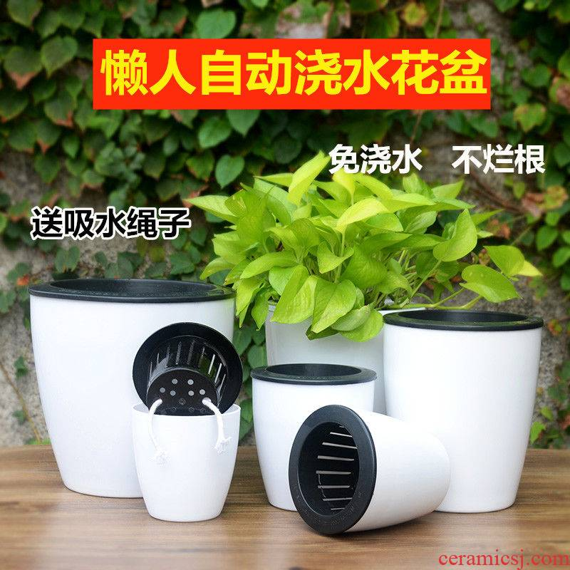 Big lazy water automatic suction flowerpot clearance plastic flower POTS imitation ceramic resin bracketplant basin of other Chinese rose