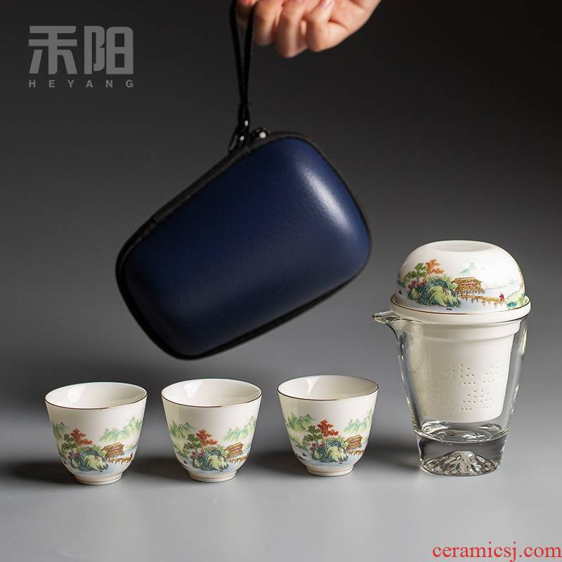 Send Yang glass crack a pot of three portable travel kung fu tea set ceramic tea, tea cup