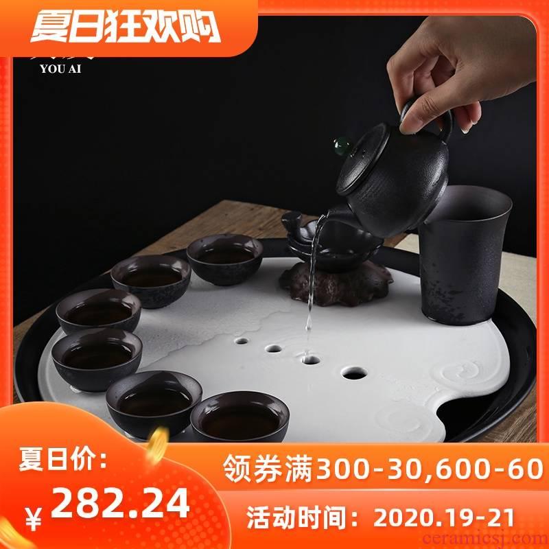 Love the black sand glaze ceramic dry water tea tray number dish of circular tea tea sea drainage kung fu tea set
