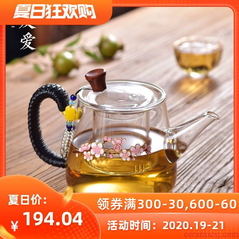 Love cloisonne inlaid silver color pot of household creative teapot elegant kunfu tea hot boiling pot can be customized