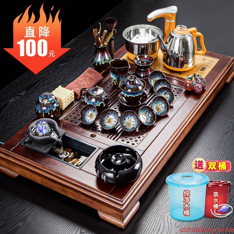 Tea sets Tea tray was integrated electric Tea stove four unity of a complete set of automatic kunfu Tea household contracted and I Tea taking