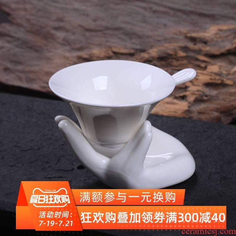 Palettes nameplates, ceramic GuanYinShou tora filter dehua white porcelain tea tea good slag kung fu tea accessories