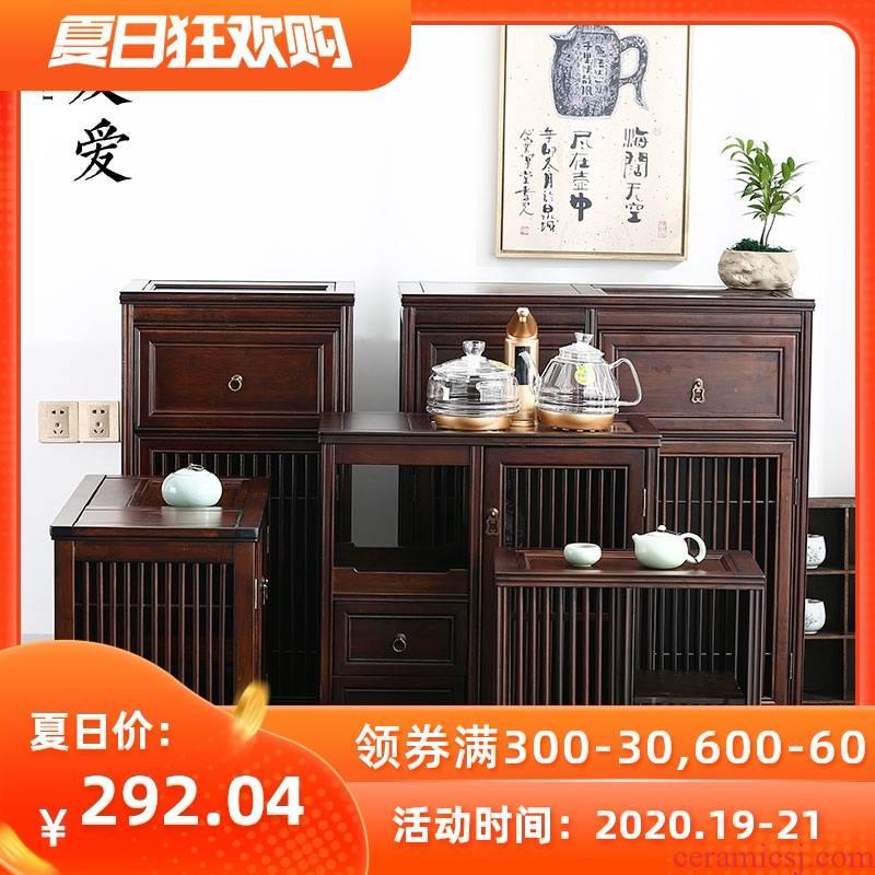 Ark of love tea bamboo wood mobile water tank car small tea tea tea machine household receive Chinese shelf