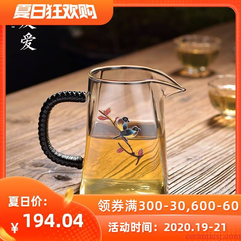 Love cloisonne sifang male cup upset heat set fair silver glass tea cup tea tea is tea