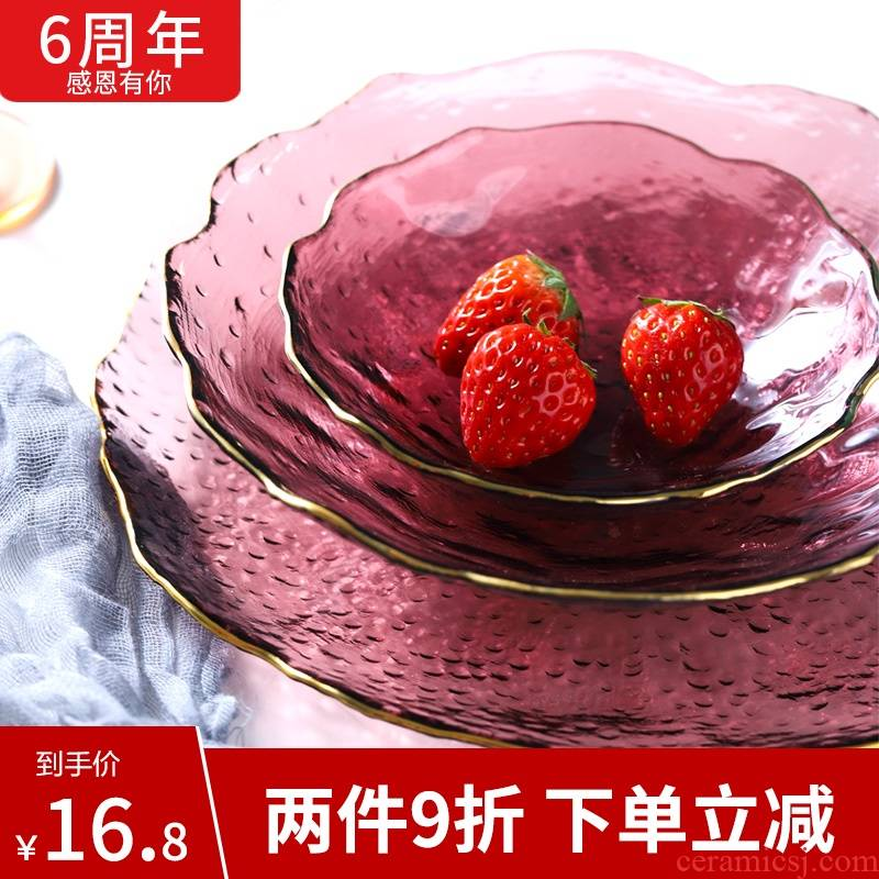 Glass plate household heat resistant Glass fruit salad bowl purple special - shaped plate Nordic creative dish dish dish dishes