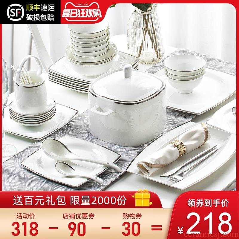 The dishes suit household contracted jingdezhen ceramic tableware European - style ipads porcelain tableware suit dishes combination of eating The food