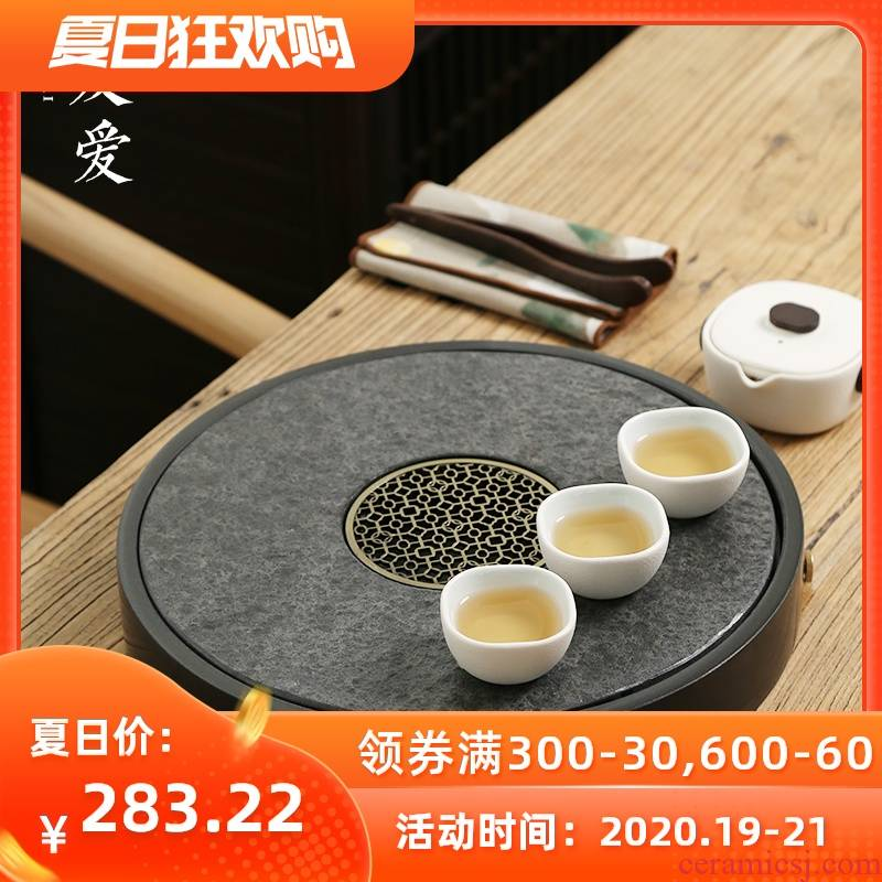 Love stone double circular sharply with tea tray is contracted with kung fu tea saucer dish stone tea tea sea big number