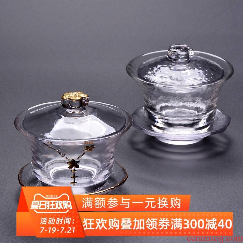 Tureen thickening heat - resistant glass cup hammer paint only Japanese three cups of kung fu tea set to use the teapot