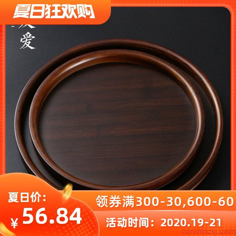 Love round saucer dish Nordic fruit tray household steak put SaZhu plate Japanese contracted solid wood plate