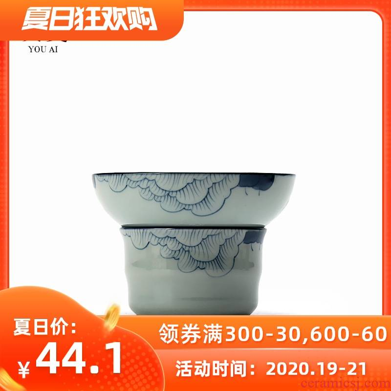 Love the old blue and white hand tea filter antique blue - and - white ceramics filter) tea tea hand Japanese porcelain