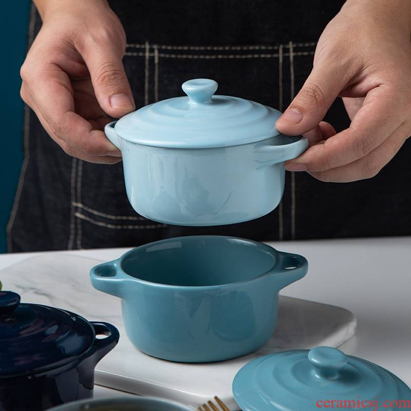 Nordic ears for jobs creative ceramic bowl with cover soup bowl oven steamed egg cup household utensils dishes suit