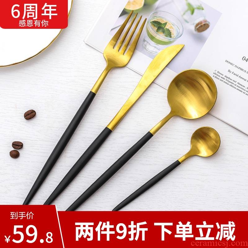 High - grade stainless steel steak knife and fork spoon, fork suit European western home 4 times western tableware knives and forks