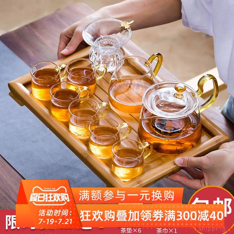 The Heat - resistant glass tea set suit household contracted and I kung fu red tea pot to boil tea Japanese transparent tea cups