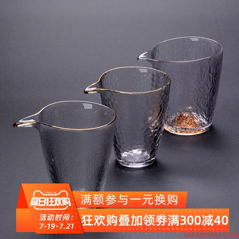 The Heat - resistant glass hammer fair keller of tea sea Japanese snow well cup and cup more kung fu tea tea set points is large