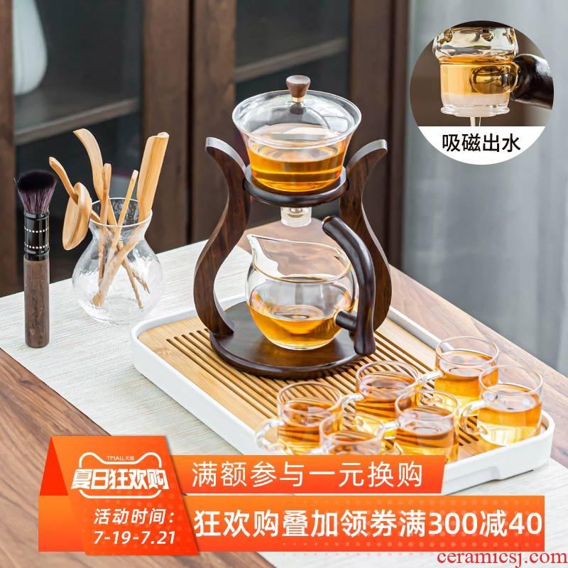 Palace the lantern half automatic lazy kung fu tea set heat - resistant transparent glass teapot home tea cups