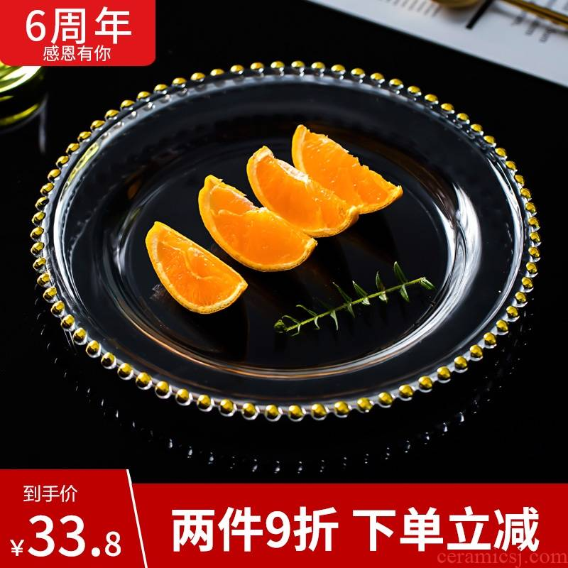 Circular transparent glass plate household heat - resistant glass fruit salad Nordic creative dish dish dish plate