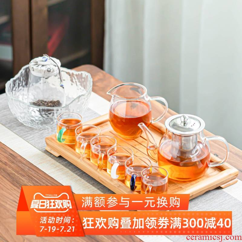 The Heat - resistant glass tea sets of filter contracted tea pot home office to receive a visitor of a complete set of kung fu tea cups