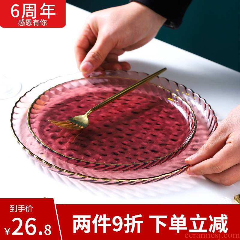 The see colour plate of light purple glass creative steak plate web celebrity modern key-2 luxury ins western - style food tableware plate of household food tray