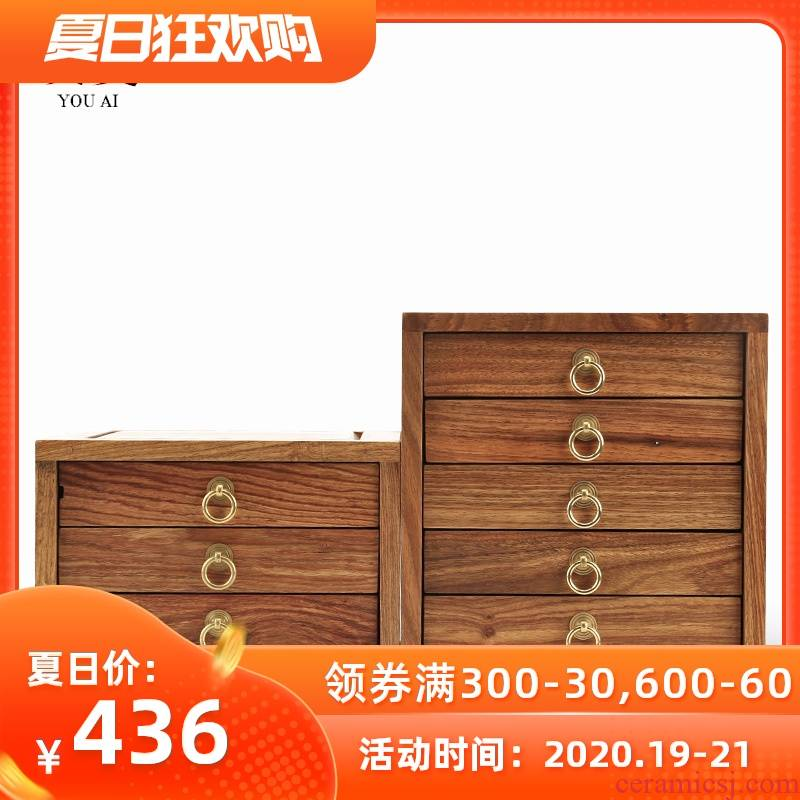 Love and multilayer puer tea box of kung fu tea caddy fixings tea tray by the pear wood tea tray tea accessories