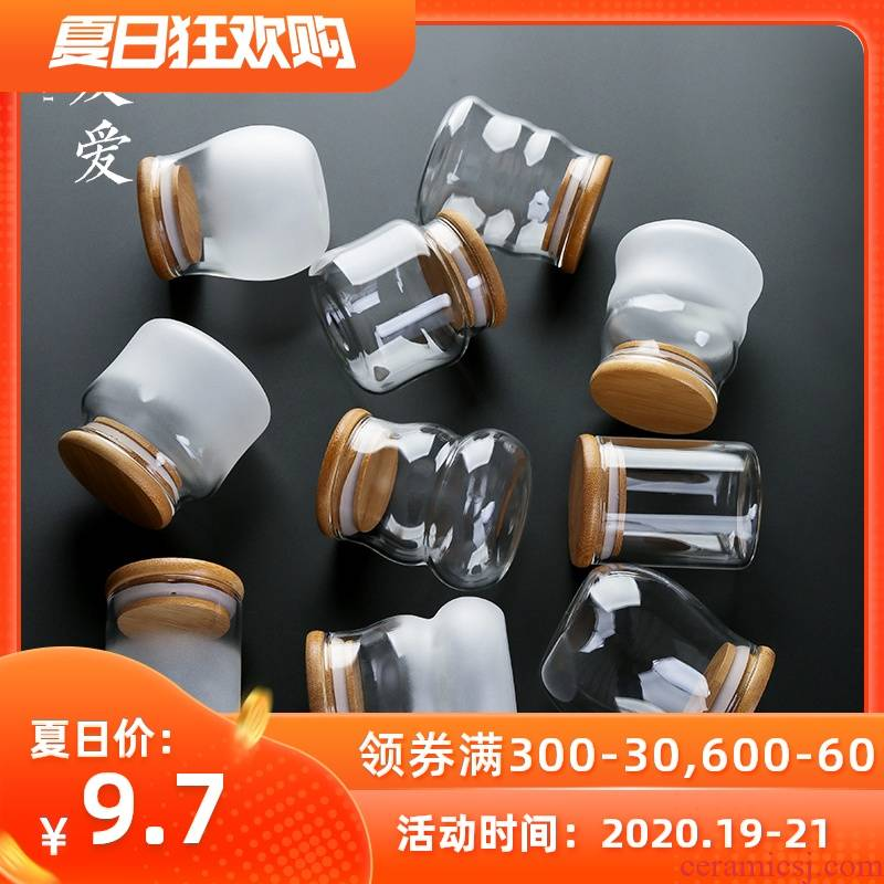 Love the mini caddy fixings glass transparent portable storage POTS box sealing travel home candy packaging bottle