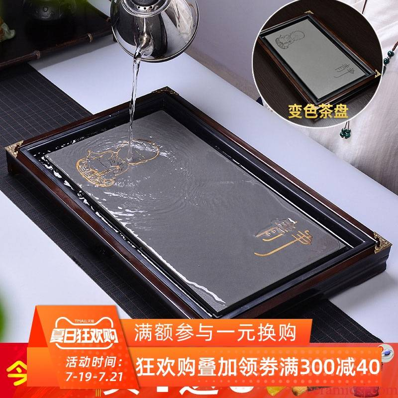 Solid wood home ground tea sea kung fu tea color small tea table is contracted tray drainage imitation sharply stone