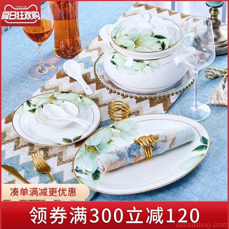 Jingdezhen ceramic tableware dish dish soup plate fish dishes dish household jobs western food steak home new dish bowl