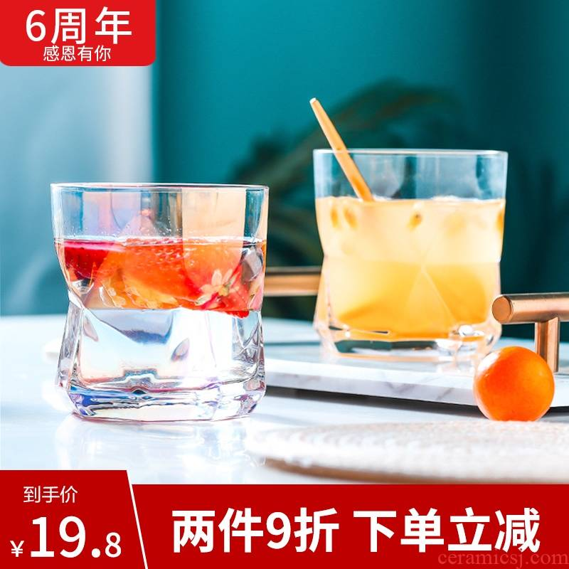 Geometric cup ins creative household characteristics of glass paint dazzle see irregular jingdezhen move glass tableware