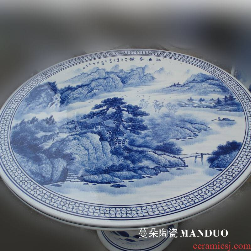 Jingdezhen thickening who suit Jingdezhen porcelain table hand - made landscape garden porcelain set the table