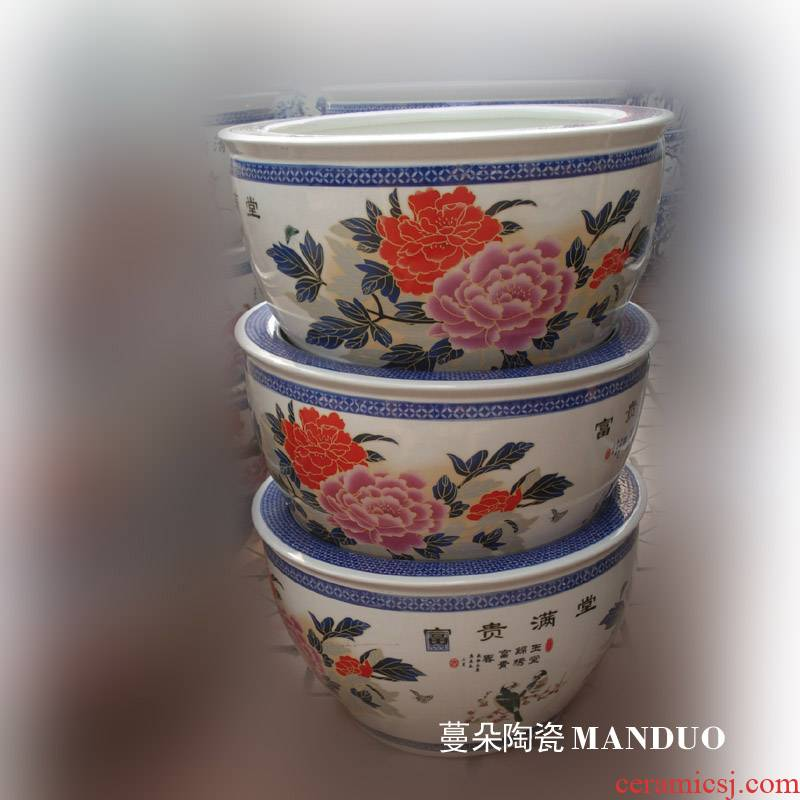 Jingdezhen riches and honor peony ceramic porcelain VAT elegant high - grade fish painting and calligraphy VAT VAT to plant trees