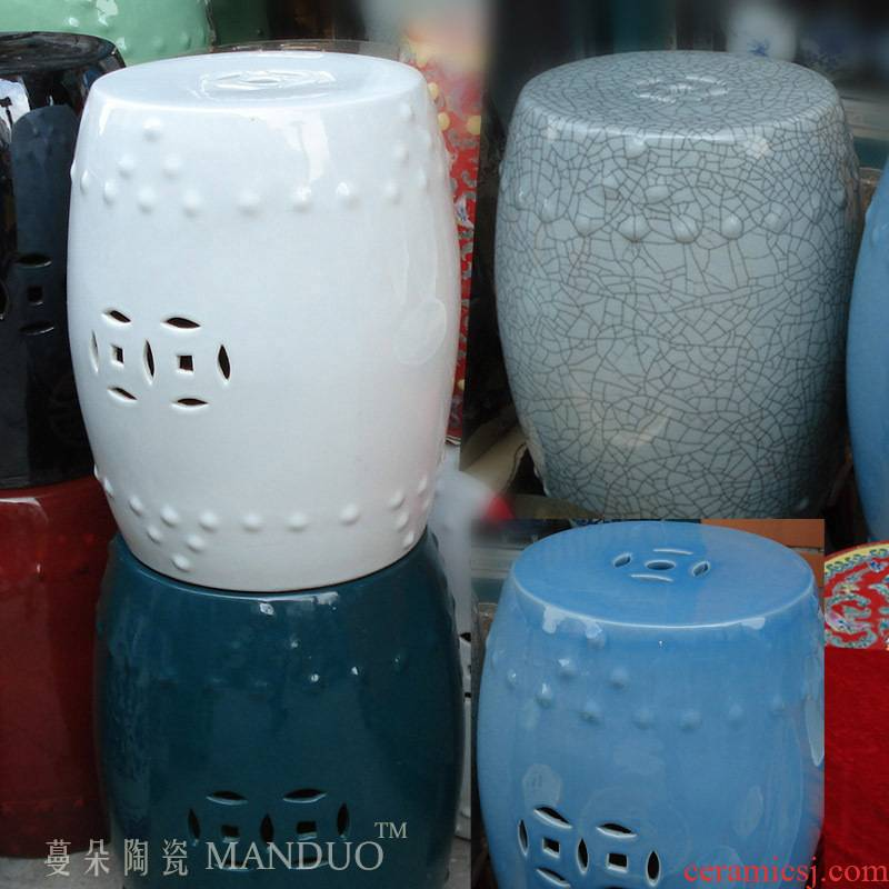 High - grade white blue crack archaize ceramic porcelain who white fashion ceramic stools shoe ark, who