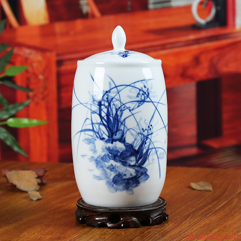 Jingdezhen blue and white storage tank caddy fixings I household ceramics sitting room adornment is contracted furnishing articles of handicraft