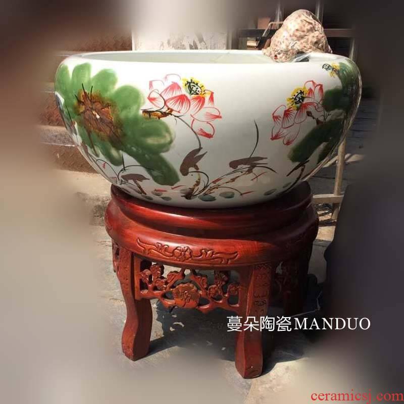 Jingdezhen up lotus circulating water aquarium fountain tortoise circulation tank cylinder high solid wood base