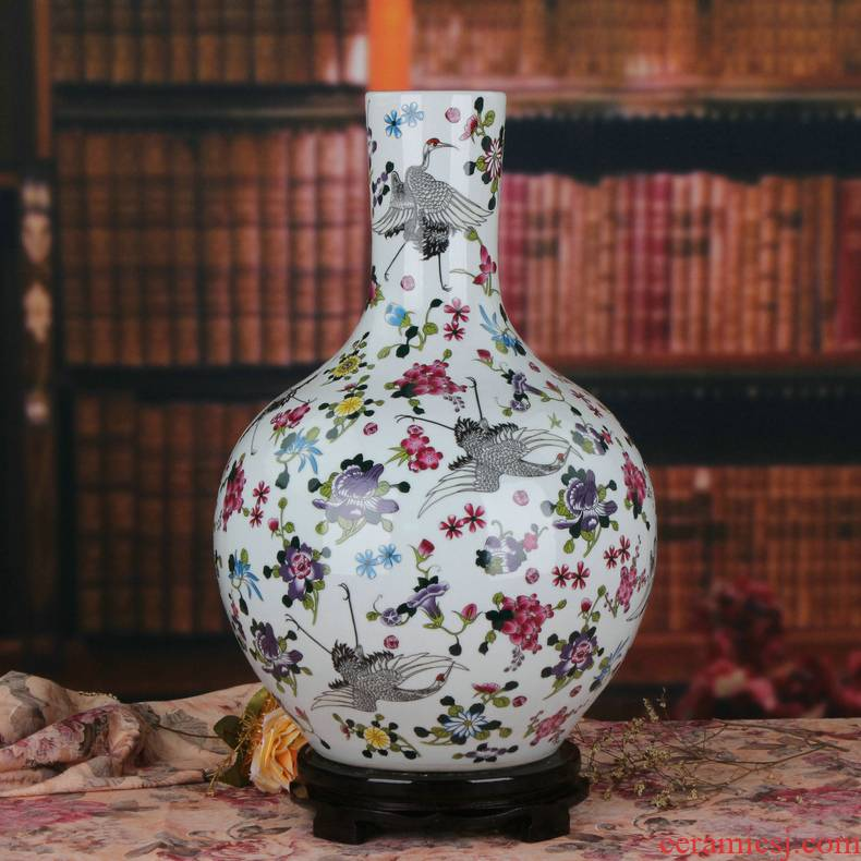 Jingdezhen ceramics noctilucent powder enamel pine crane live celestial large vases, creative Chinese style household decorations