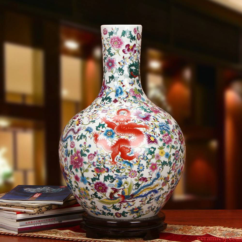 Jingdezhen ceramics powder enamel wulong four chicken ball bottle of large vases, antique Chinese style household crafts