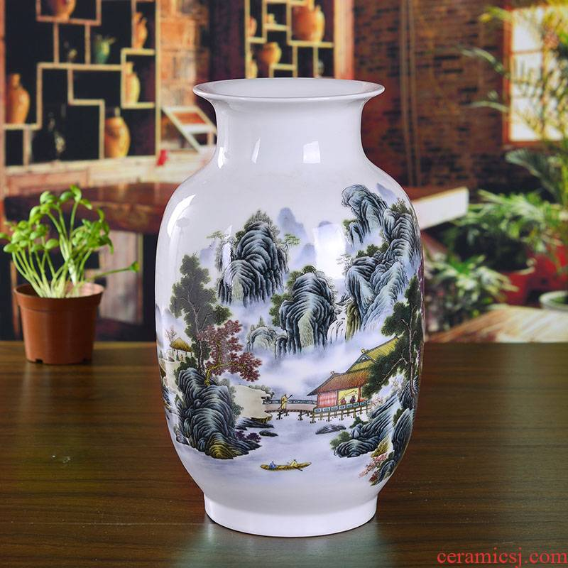 Jingdezhen ceramics powder enamel vase and household decoration modern living room decoration crafts are a wedding gift