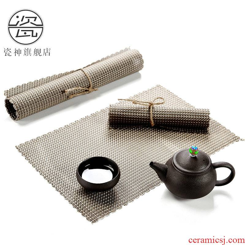 Porcelain ShenCha mat bamboo mat components abrasion resistant mat home insulation tea tea tea shops mat cup mat ground tea set