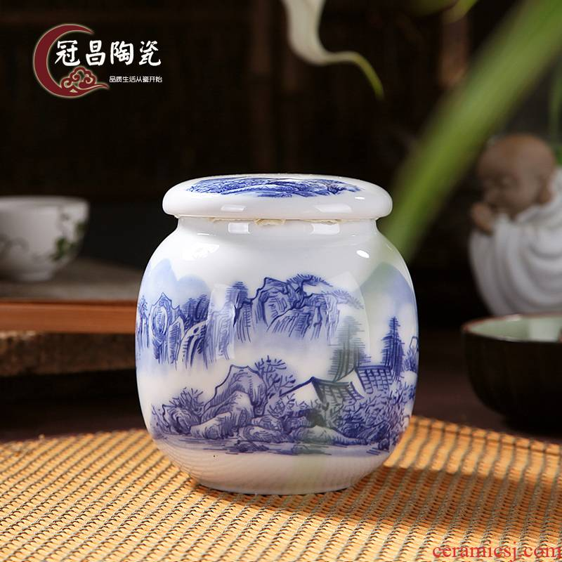 The Crown, jingdezhen ceramic blue and white porcelain tea pot small POTS sealed tank storage as cans of 140 grams of tieguanyin