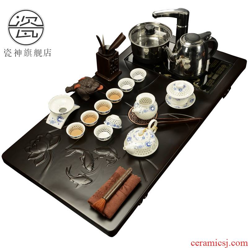 Porcelain ebony wood tea set tea tray tea sea god household and exquisite tea set four unity taking of a complete set of induction cooker