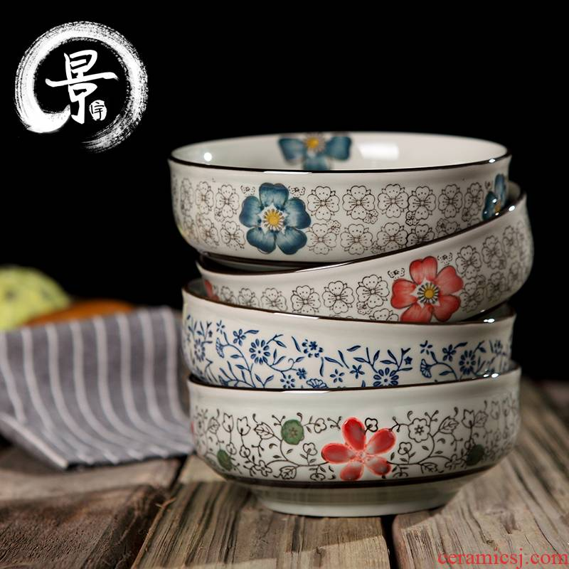 5.5 inch Creative Japanese tableware dwarf foot bowl under the glaze color ceramic bowl millet rice bowl salad bowl such as bowl of soup bowl