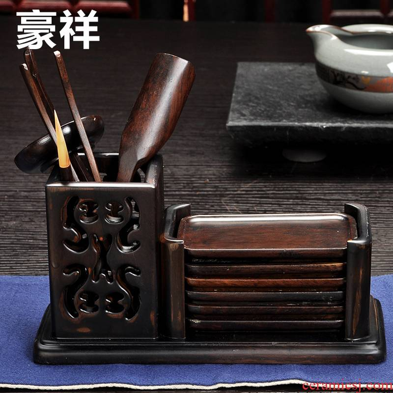 Howe cheung kung fu tea accessories square hollow out the tea taking with long cup mat ebony wood tea six gentleman 's suit