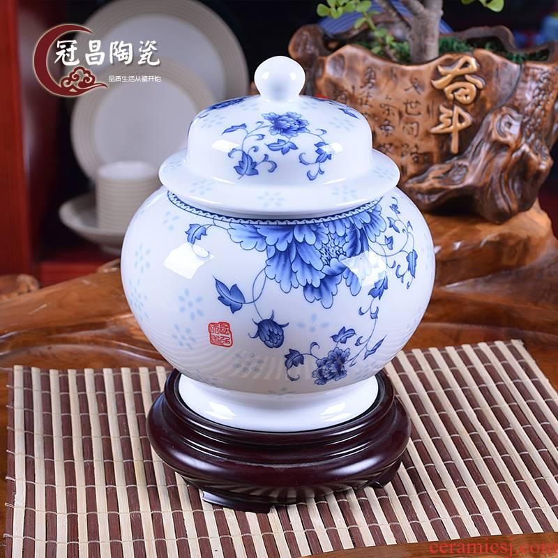 The Crown, jingdezhen ceramic tea pot large POTS general gift porcelain jar airtight pot 1 catty of blue and white porcelain