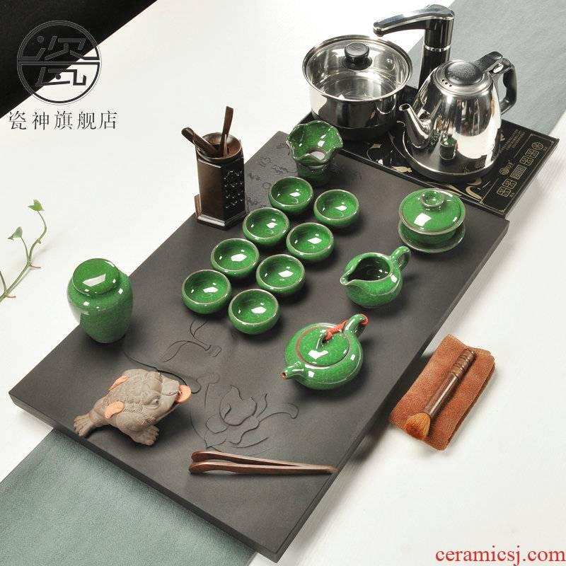Porcelain god sharply stone tea tray of a complete set of kung fu tea set induction cooker stone tea tray tea saucer dish four sea are one