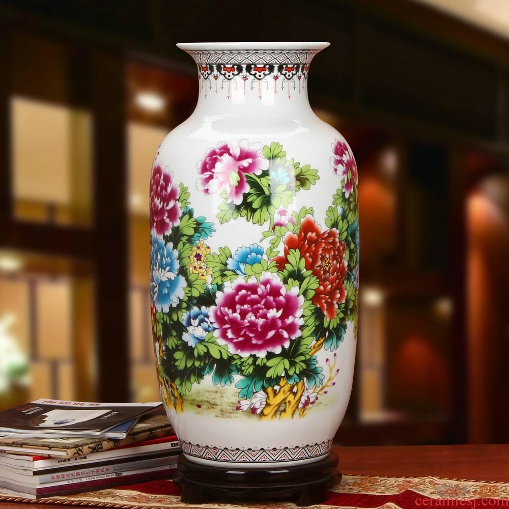 Jingdezhen ceramics powder enamel peony flowers precious gourd of large vases, modern Chinese style household furnishing articles