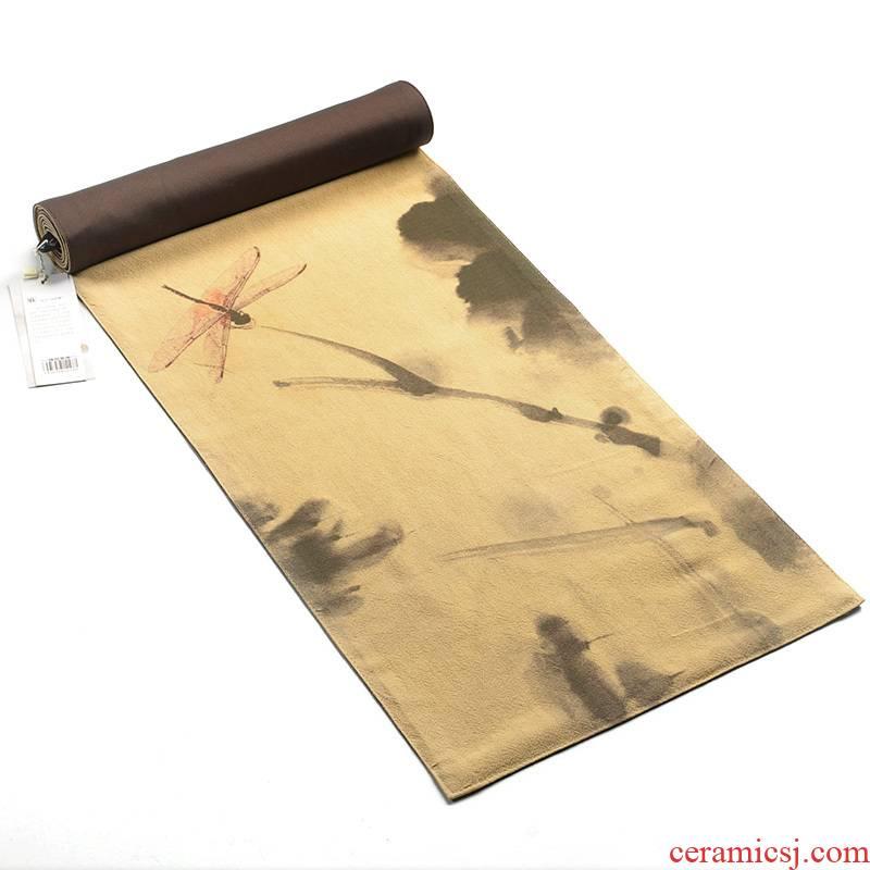 Howe auspicious hand - made oil hemp tea table Japanese double checking cotton fiber mat linen cloth mat zen tea table flag