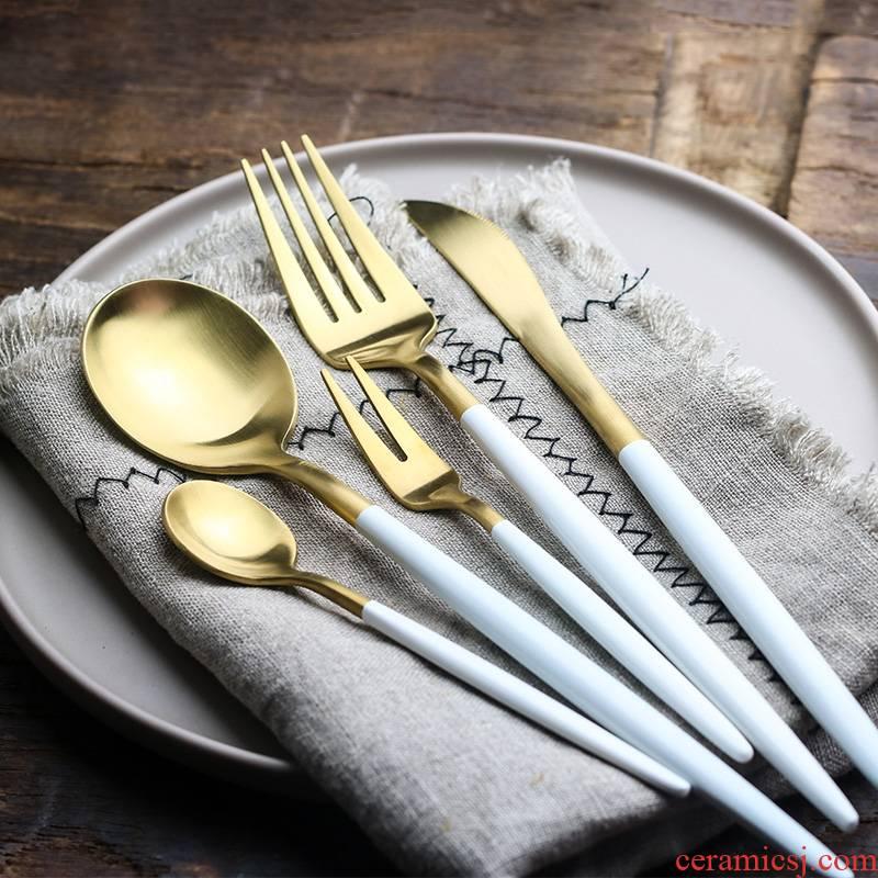 WUXIN304 stainless steel knife and fork spoon, western - style food tableware suit three - piece steak knife and fork dessert spoon, fruit fork